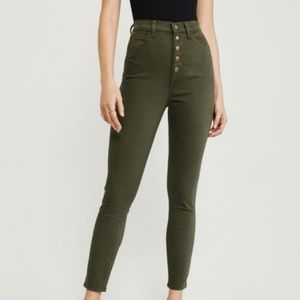 Abercrombie green high rise super skinny ankle 4R